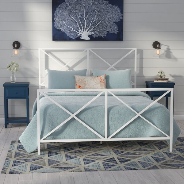 Etheredge All-In-One X Gloss White Metal Queen Standard Bed by Beachcrest Home