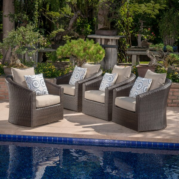 Dierdre Modern Outdoor Wicker Swivel Club Patio Chair with Cushions (Set of 4) by Red Barrel Studio