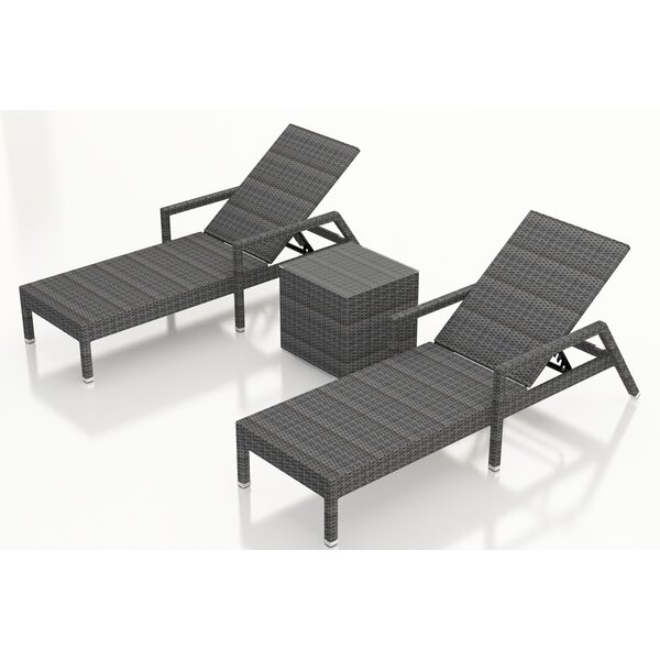 Hobbs Reclining Chaise Lounge and Table by Rosecliff Heights