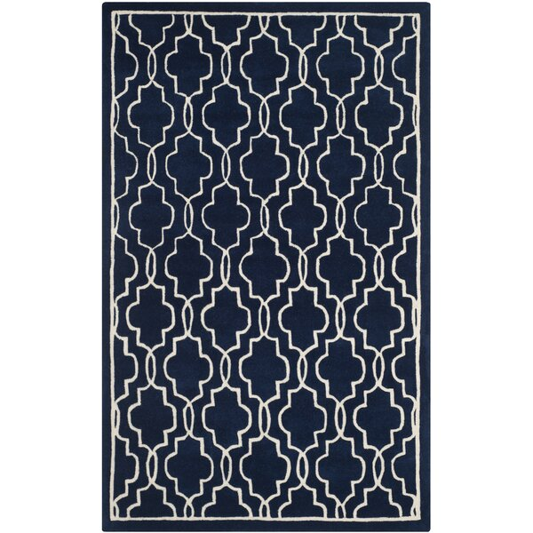 Wilkin Hand-Woven Dark Blue/Ivory Area Rug by Wrought Studio