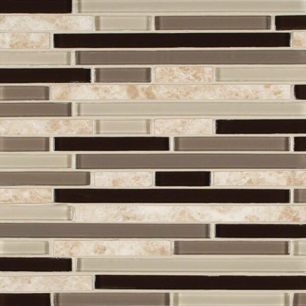 Amalfi Cafe Interlocking Pattern Random Sized Glass/Stone Mosaic Tile in Beige/Brown by MSI