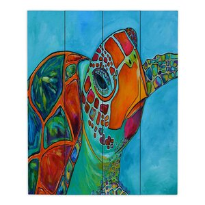 Seaglass Sea Turtle by Patti Schermerhorn Painting Print Plaque by DiaNoche Designs