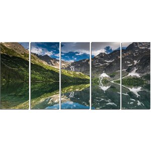 Reflection of Mountain Peaks 5 Piece Wall Art on Wrapped Canvas Set by Design Art