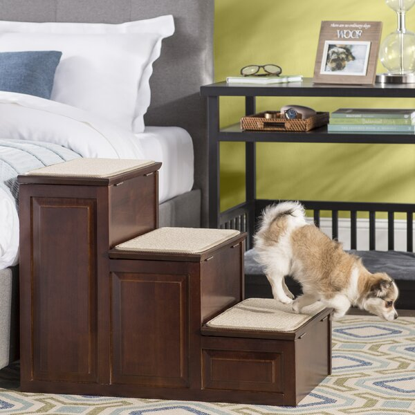 April Designer 3 Step Pet Stair With Storage By Archie Oscar.