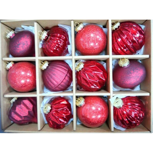 12 Piece Glass Ball Ornament Set by The Holiday Aisle