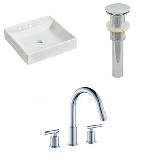 Online Reviews Ceramic Square Bathroom Sink with Faucet By American Imaginations