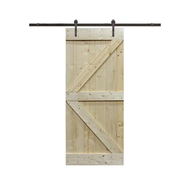 Solid Wood Panelled Pine Slab Interior Barn Door by TMS