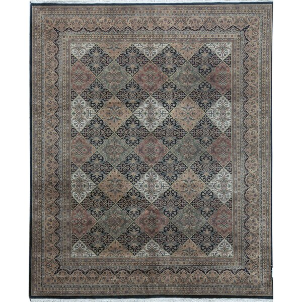 Gramercy Geometric Hand-Knotted 8.2' x 10' Wool Red/Black/Green Area Rug