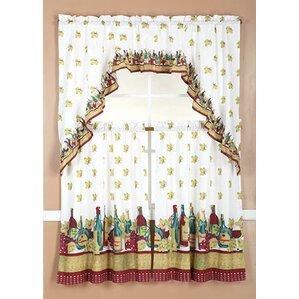 Correia 3 Piece Wine Kitchen Curtain Set