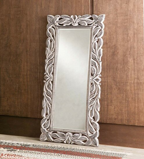 Jakes Handcarved Whitewash Leaf Full Length Mirror by Bloomsbury Market