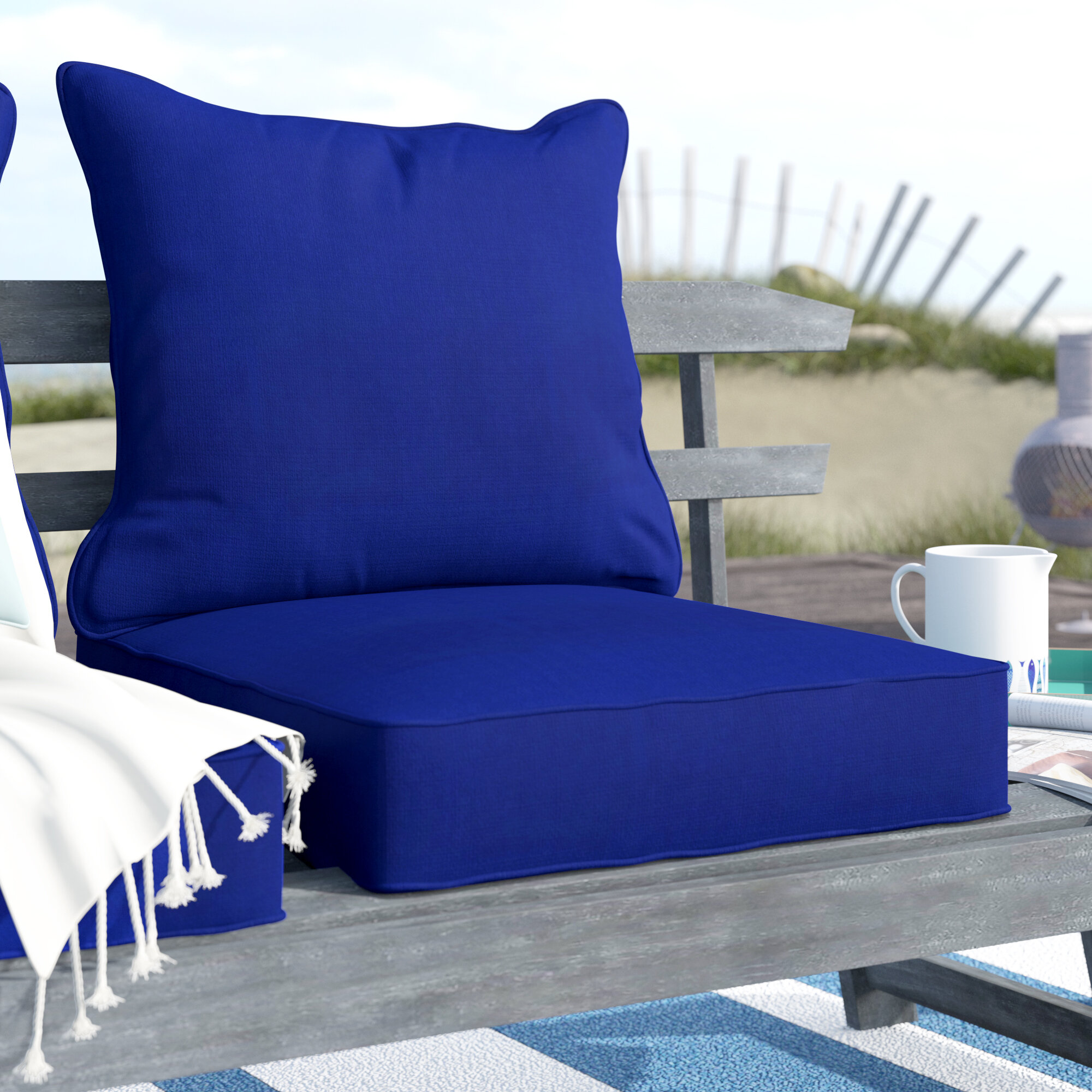 Elegant Breakwater Bay 2 Piece Indoor/Outdoor Chair Cushion Set U0026 Reviews | Wayfair