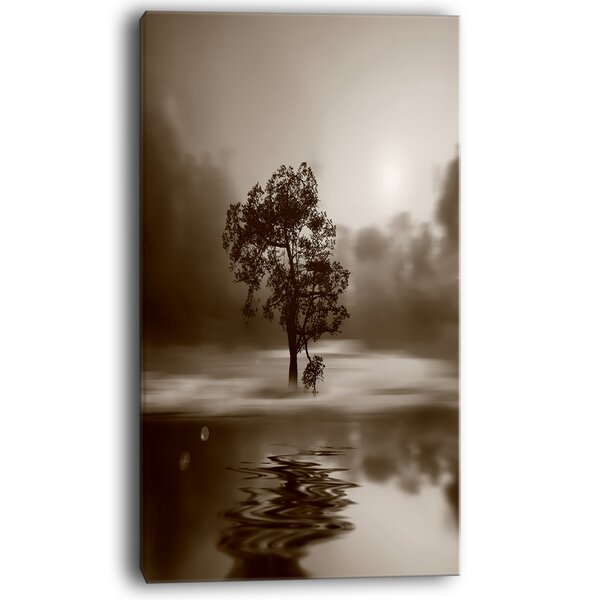 Alone Tree on Island in Sepia Photographic Print on Wrapped Canvas by Design Art