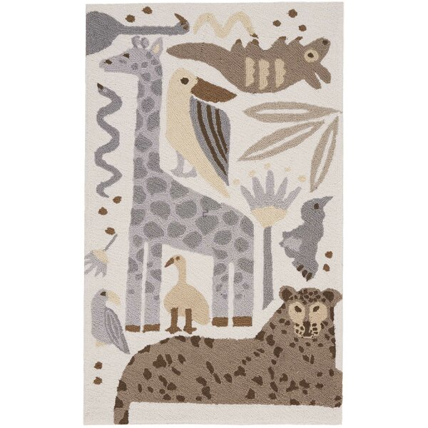 Crew Park Hand-Hooked Gray/Beige Area Rug by Harriet Bee
