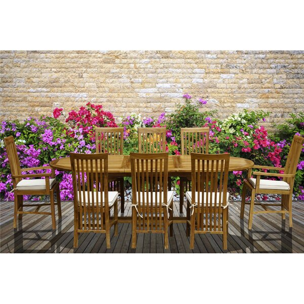 Fowlkes 9 Piece Teak Dining Set with Cushions by Darby Home Co