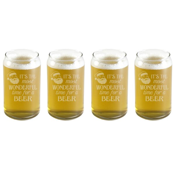 Most Wonderful Time Beer Can 16 oz. Glass Every Day Glass (Set of 4) by The Holiday Aisle