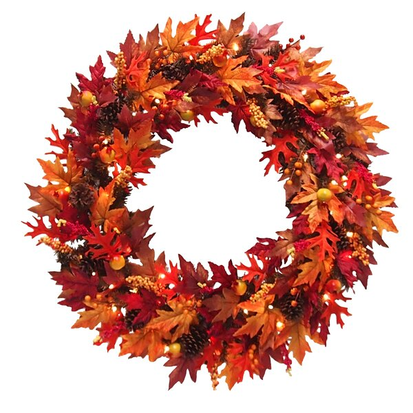 Maple 36 Lighted Wreath by The Holiday Aisle