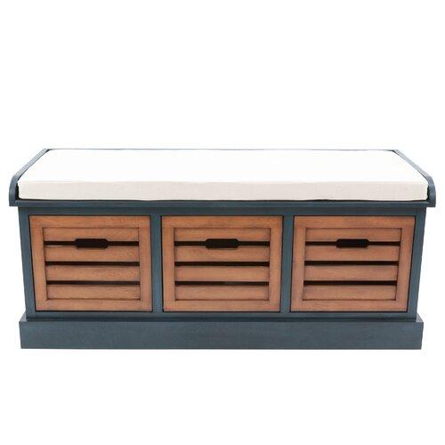 Sonderborg Wood Storage Bench Blue Elephant Colour: Antique
