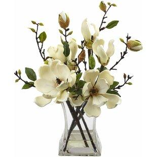 Artificial flower arrangements youll love wayfair magnolia arrangement with vase mightylinksfo