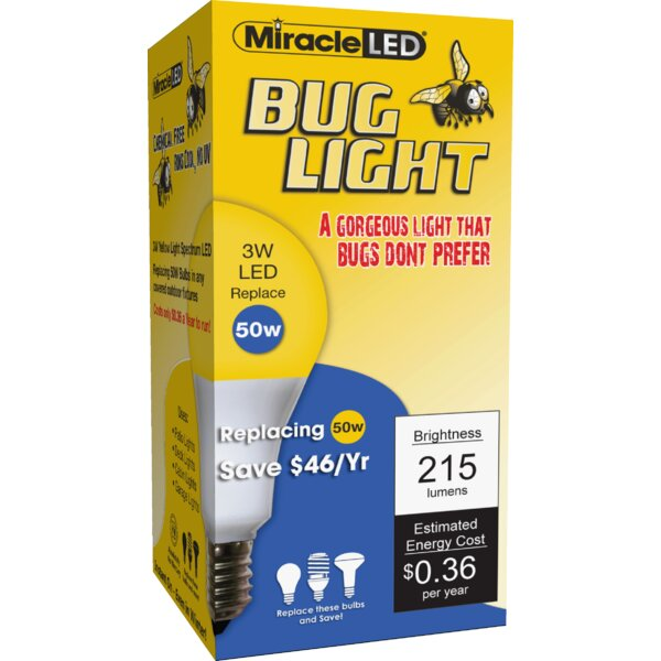 3W Yellow E26/Medium (Standard) LED Light Bulb (Set of 2) by Miracle LED