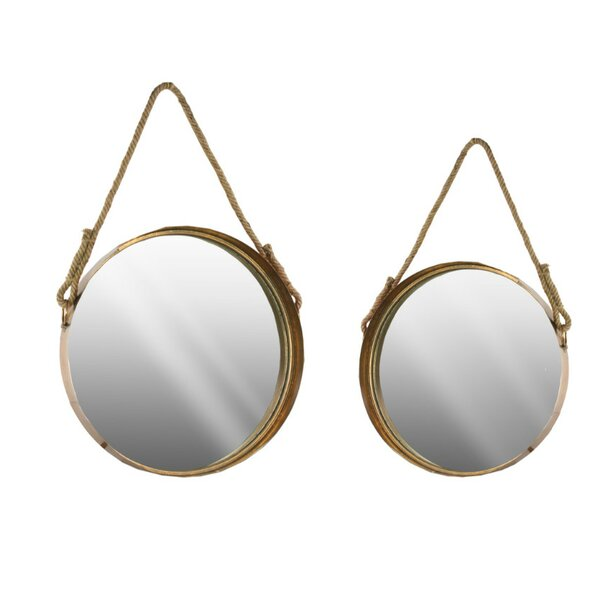 Perna 2 Piece Round Wall Mirror Set with Beveled Surface and Rope Hanger by Gracie Oaks