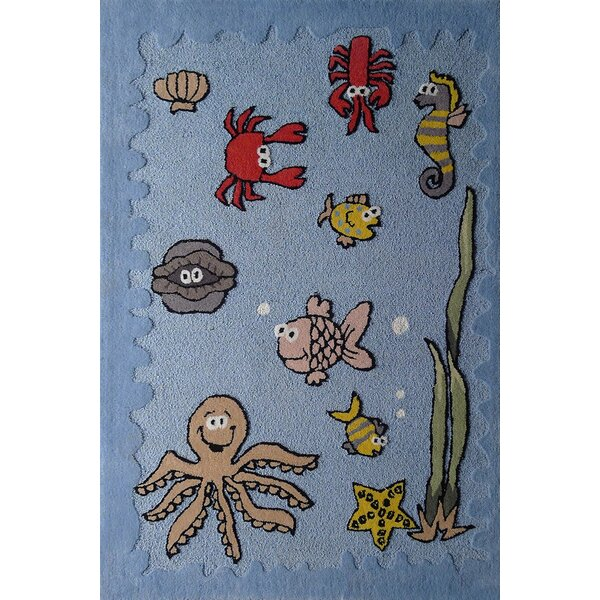Hayek Sea Animals Hand-Tufted Blue/Yellow Area Rug by Zoomie Kids