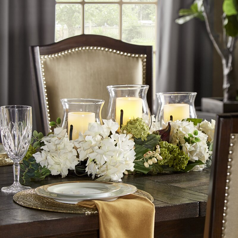 Darby home co hydrangea centerpiece in candelabrum