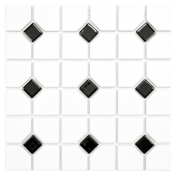 Cambridge Random Sized Porcelain Mosaic Tile in Matte White/Black by EliteTile