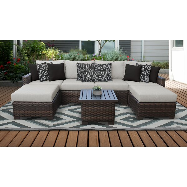 River Brook 7 Piece Sectional Seating Group with Cushion by kathy ireland Homes & Gardens by TK Classics