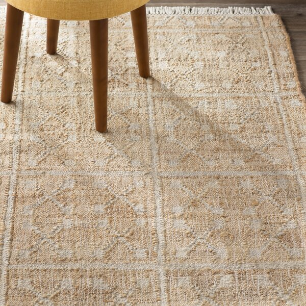 Hand-Woven Cream/Ivory Area Rug by Three Posts