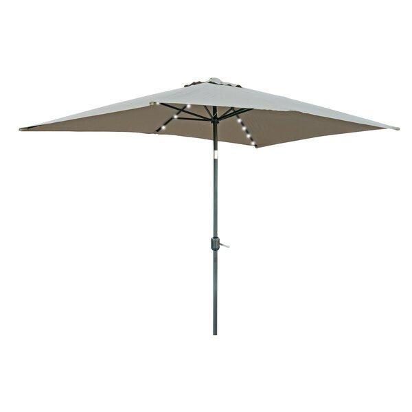 Bangert 10' X 6.5' Rectangular Lighted Umbrella By Wade Logan by Wade Logan 2020 Sale