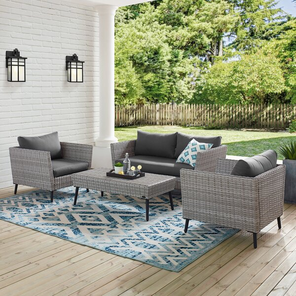 Tennie 4 Piece Sofa Seating Group with Cushions by Orren Ellis
