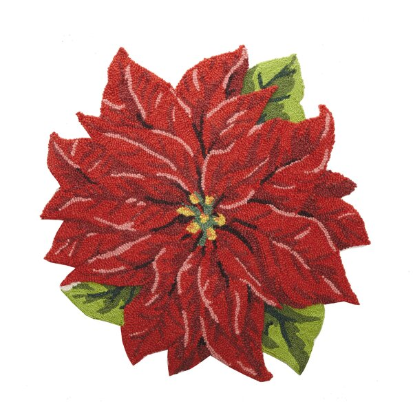 Carpen Poinsettia Shaped Wool Red Area Rug by The Holiday Aisle
