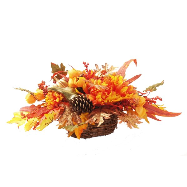 Harvest Mixed Centerpiece in Basket by The Holiday Aisle