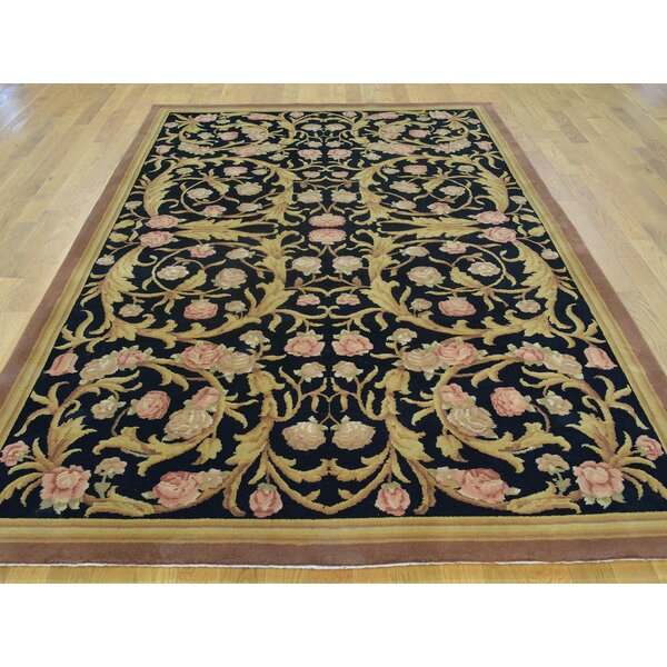 One-of-a-Kind Blayze Floral Design Hand-Knotted Black Wool Area Rug by Isabelline
