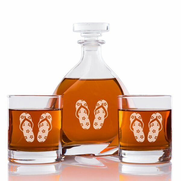 Palanga Floral Flip Flops Engraved 3 Piece Beverage Serving Set by Rosecliff Heights