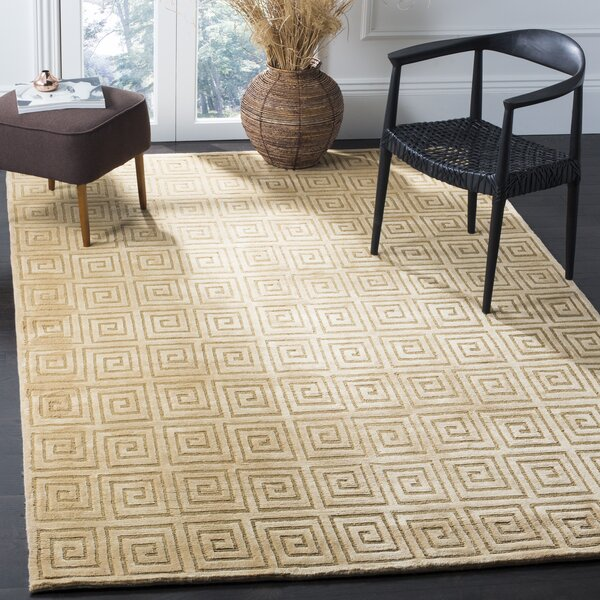 Fogg Tibetan Hand Knotted Wool Ivory Area Rug by Everly Quinn