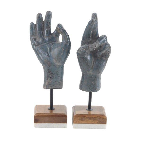 Matranga Paper Mache Hand 2 Piece Sculpture Set by Wrought Studio