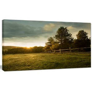 'Beautiful Sunrise in the farm' Photographic Print on Wrapped Canvas by Design Art