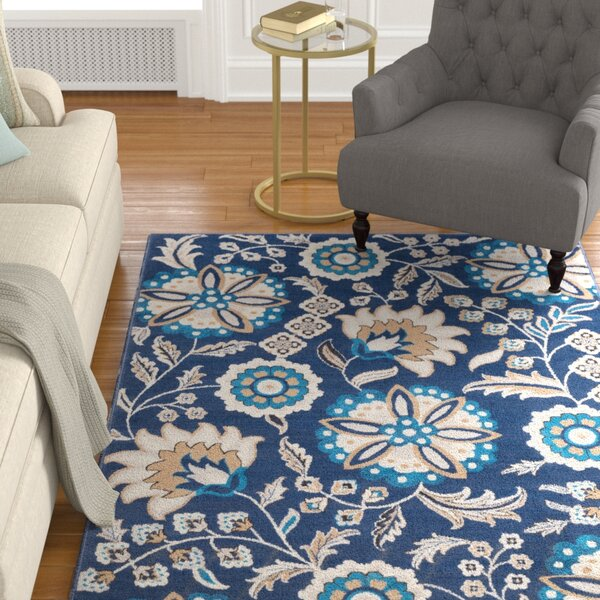 Kent Modern Floral Navy/Sky Blue Area Rug by Charlton Home