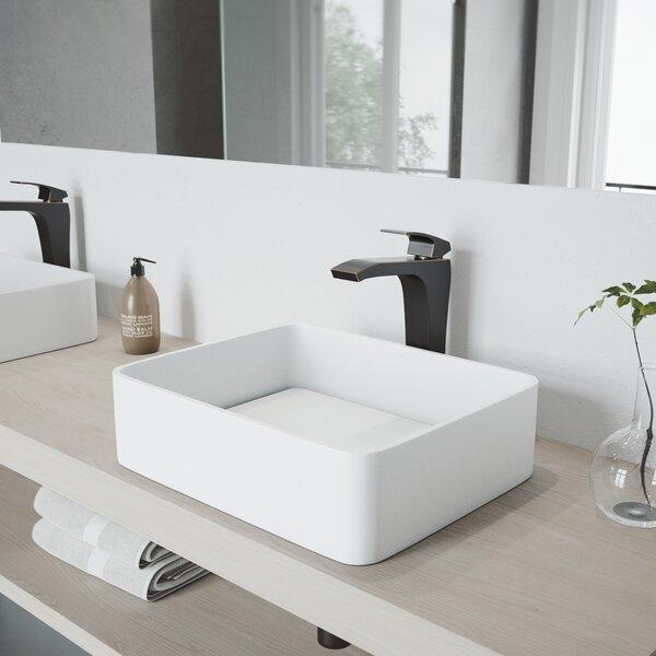 Matte Stone Rectangular Vessel Bathroom Sink by VIGO