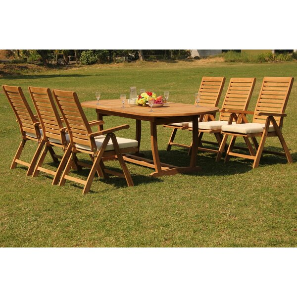 Jamel 7 Piece Teak Dining Set by Rosecliff Heights