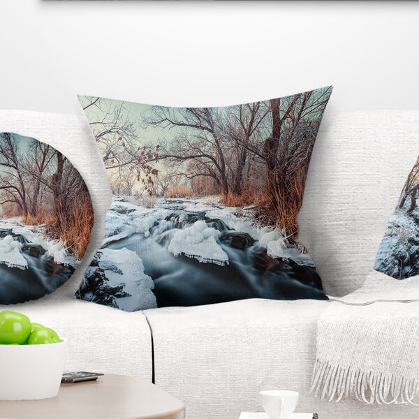 Landscape Ukraine Winter Forest Pillow by East Urban Home