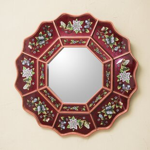 Novica Wine Blossom Fiesta Floral Reverse Painted Glass Wall Mirror