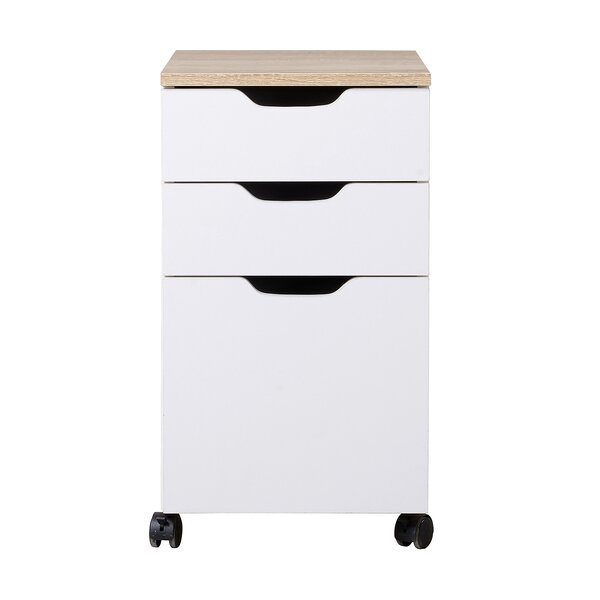 Rosborough Modern 3 Drawer Mobile Vertical Filing Cabinet by Wrought Studio