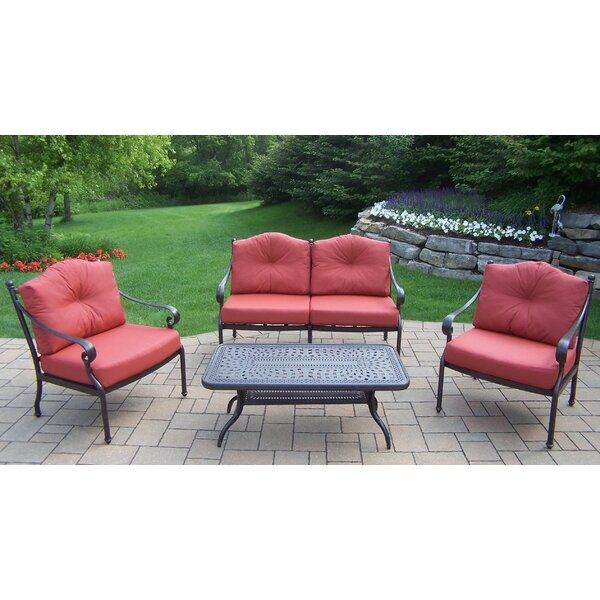 Robicheaux 4 Piece Seating Group with Cushions by Fleur De Lis Living