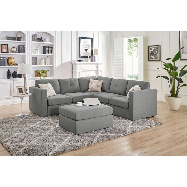 Home & Outdoor Lombardi Symmetrical Modular Sectional With Ottoman