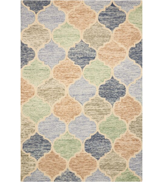 Beckman Hand Tufted Wool Blue/Ivory Area Rug by Bungalow Rose