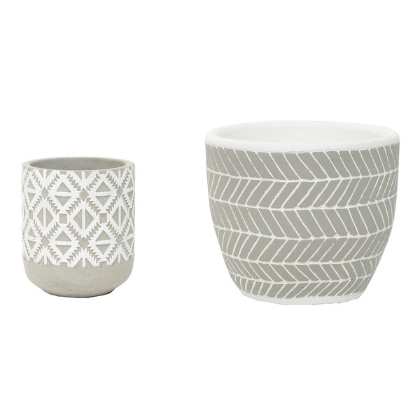 Grossi 2-Piece Concrete Pot Planter Set by Bungalow Rose