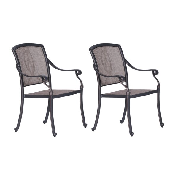 Beaufort Stacking Patio Dining Chair With Cushion (Set Of 2) By World Menagerie by World Menagerie #1