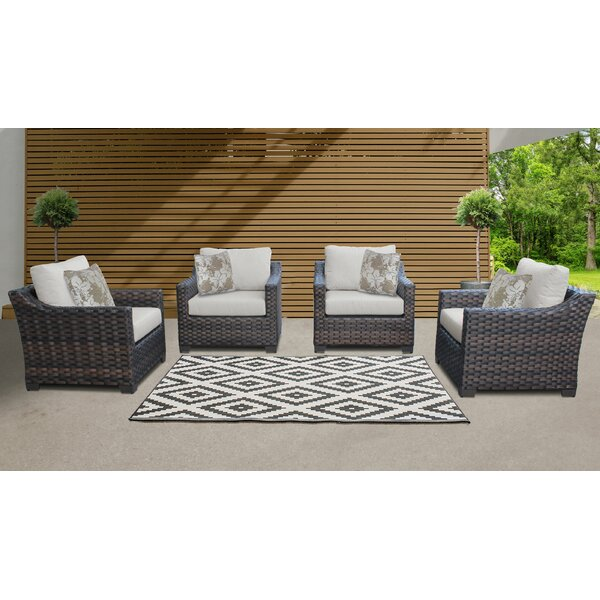kathy ireland Homes & Gardens River Brook 4 Piece Outdoor Wicker Patio Furniture Set 04g (Set of 4) by TK Classics